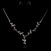 * Necklace Earring Set 328 Post Stud Silver Black