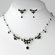 Necklace Earring Set NE 3396 Silver Black