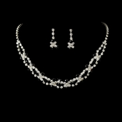 Fabulous Silver Black & Clear Rhinestone Necklace & Earring Set 3092