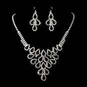 Necklace Earring Set 11041 Silver Black