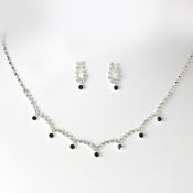 * Stunning Silver Black Crystal Accent Jewelry Set NE 325