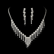 * Glamorous Silver Black Crystal Necklace & Earring Set NE 365