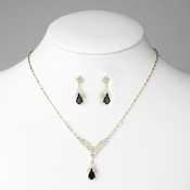 Gold Black Crystal Drop Jewelry Set NE 344