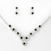 Sparkling Black Crystal Bridal Jewelry Set NE 360