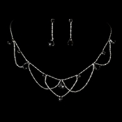 * Silver Black Necklace & Earring Bridal Jewelry Set NE 8000