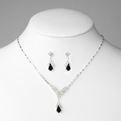 Silver Black Crystal Drop Jewelry Set NE 344