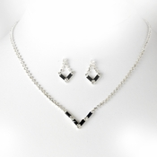 Silver Black Rhinestone Necklace & Earring Set NE 341