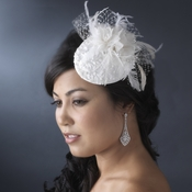 * Embroidered Feather Flower Bridal Hat Comb with Russian Tulle Accent in White or Ivory 3027