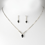Necklace Earring Set 307 Silver Black***Discontinued****