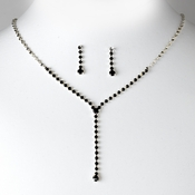 * Necklace Earring Set 313 Silver Black