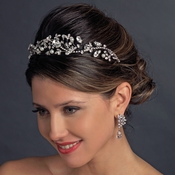 Antique Silver Diamond White Pearl & Marquise Crystal Side Accented Tiara Headband 9970