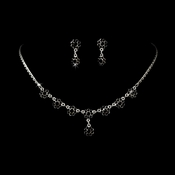 * Necklace Earring Set 331 Silver Black