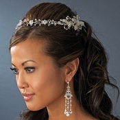Elegant Hand Wired Flower Silver Bridal Headband Style Hair Piece with Rhinestone Swarovski Accents - HP 2732