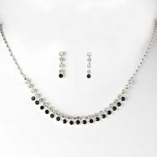 Necklace Earring Set NE 3108 Silver Black