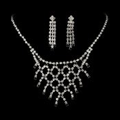* Necklace Earring Set NE 10570 Silver Black