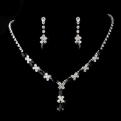 Necklace Earring Set 9235 Silver Black