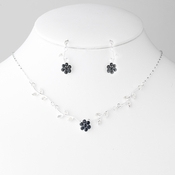 * Necklace Earring Set 330 Silver Black