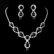 Silver Necklace & Earring Set with Onyx Crystals and Clear Rhinestones4362***Discontinued***