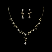 Necklace Earring Set N 2014 E 2657 Gold Clear
