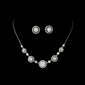 Necklace Earring Set N 2556 E 2288 Silver Clear