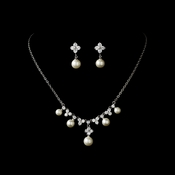 Necklace Earring Set N 2615 E 5248 Silver Ivory