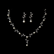 Necklace Earring Set N 2657 E 3512 Silver White
