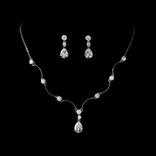 Necklace Earring Set N 2701 E 2845 Silver Clear