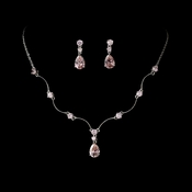 Necklace Earring Set N 2701 E 2845 Silver Pink***Discontinued***