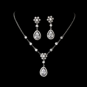 Necklace Earring Set N 2724 E 3091 Silver Clear