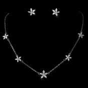 Fabulous Five Cubic Zirconia Flower Necklace & Earring Set NE 3000 Silver Clear