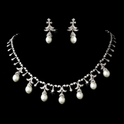 Elegant Silver Clear Crystal & White Pearl Necklace N 5082 & Earring E 5488