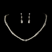 Necklace Earring Set N 8368 E 8370 Silver White