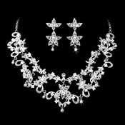 * Necklace Earring Set 1013 Silver Clear