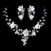 Beautiful Silver  Crystal, Porcelain & Pearl Bridal Jewelry Set NE 1014