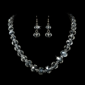 Necklace Earring Set NE 1017 Silver Clear