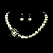 Necklace Earring Set 1023 Silver White