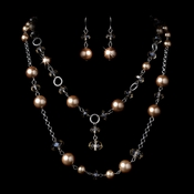Necklace Earring Set 1040 Silver Tan