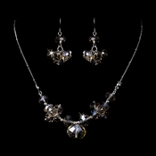 Necklace Earring Set 1045 Silver Light Topaz