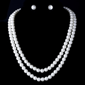 Necklace Earring Set 10769 Silver White
