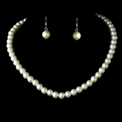 Necklace Earring Set 10912 Silver Ivory