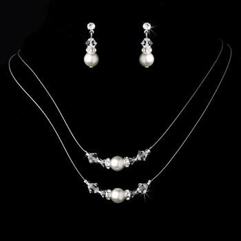Necklace Earring Set NE 8359 Silver Ivory