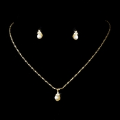 Necklace Earring Set 111 Gold Ivory