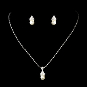 Necklace Earring Set 112 Silver Ivory