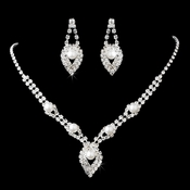 Silver White Pearl & Rhinestone Drop Jewelry Set NE 11269