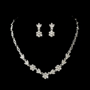 Stunning Silver Clear Crystal Flower Necklace & Earring Set 1262