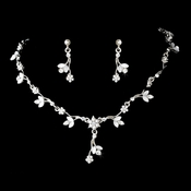 Necklace Earring Set 171 Rhodium Silver White