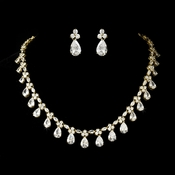 Necklace Earring Set NE 2404 Gold Clear