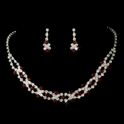 Fabulous Silver Red & Clear Rhinestone Necklace & Earring Set 3092