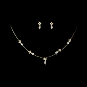 Necklace Earring Set 326 Gold Clear