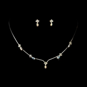 Necklace Earring Set 326 Silver AB
